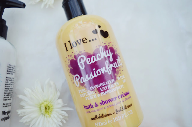 I Love... Peachy Passionfruit bath and shower creme review, I Love... skincare review, beauty blog, FashionFake