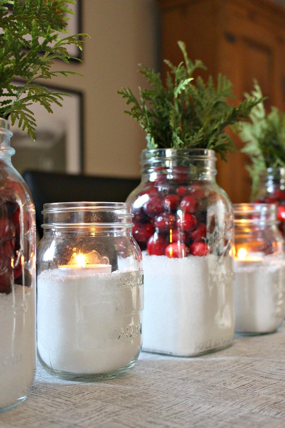 Easy Cranberry And Quot Snow Quot Mason Jar Centerpiece Dans Le