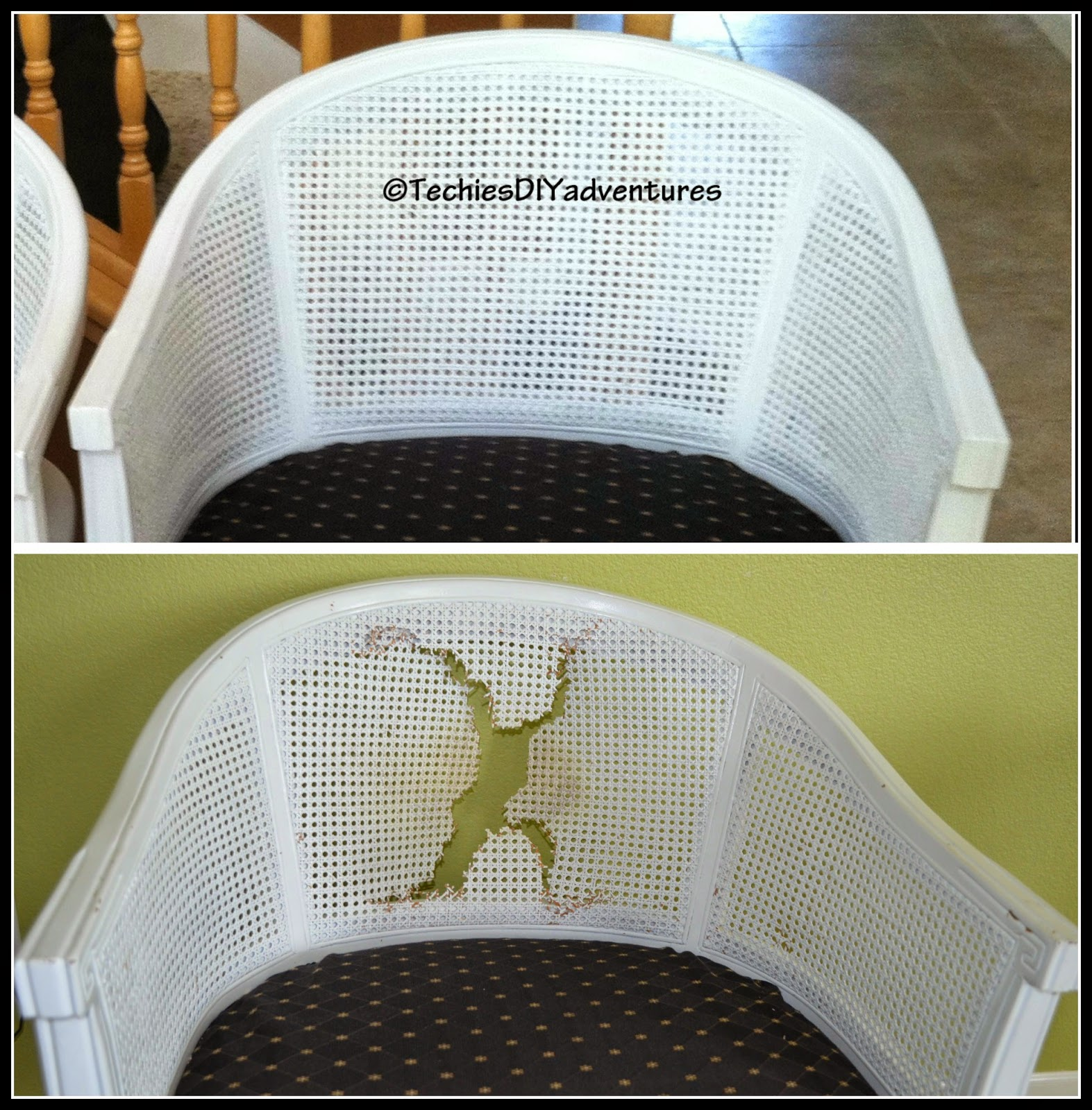 how to replace cane back chair with fabric beige slipper make over round 2 techie 39s diy adventures