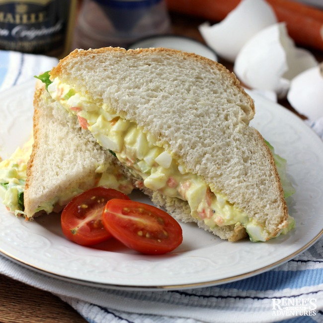 Easy Egg Salad Sandwich on a white plate