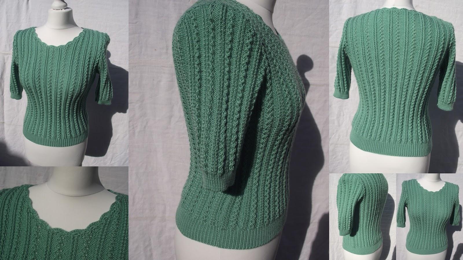 Crochet et tricot facile avec explications pull tricot point ajour vert - Point tricot ajoure facile ...