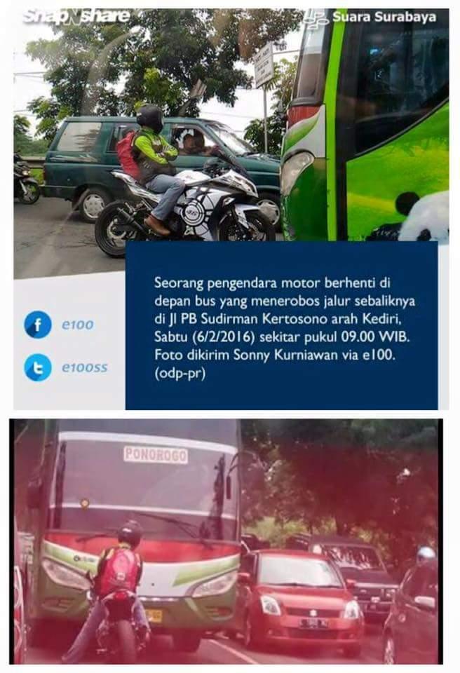 Aksi nekat pengendara motor menghadang bus ramai di Facebook