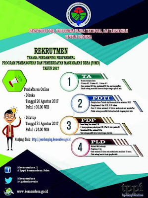 Jadwal Rekrutmen Tenaga Pendamping Profesional Desa di mulai tanggal 26 Agustus