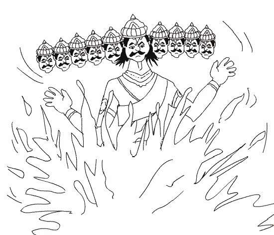 dussehra pics for coloring book pages | {{Best**}} Durga Puja and Dussehra Drawings - Enjoy Colouring - Diwali Wallpaper 2019