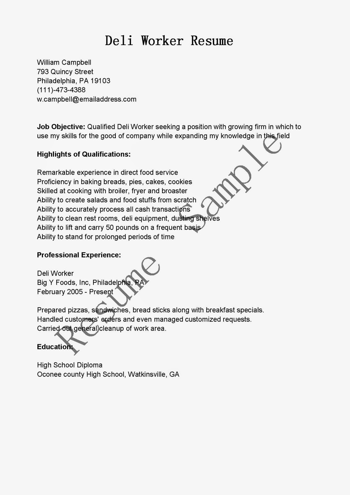 Lunch Supervisor Resume Sample Resume Samples Deli Worker Resume Sample