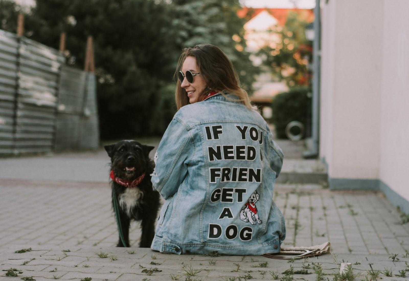 denim jacket with dog