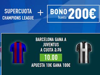Supercuota 10 sportium Barcelona gana Juventus + 200 euros champions 11 abril JRVM