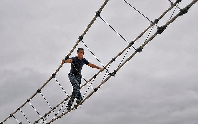 A Simple Rope Bridge Built by The Navy