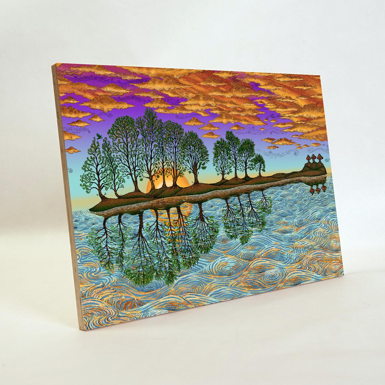 "EMEK Handbill Silkscreen Print BLUE PEACE TREE Signed 5 X 3.25/"" like poster art"