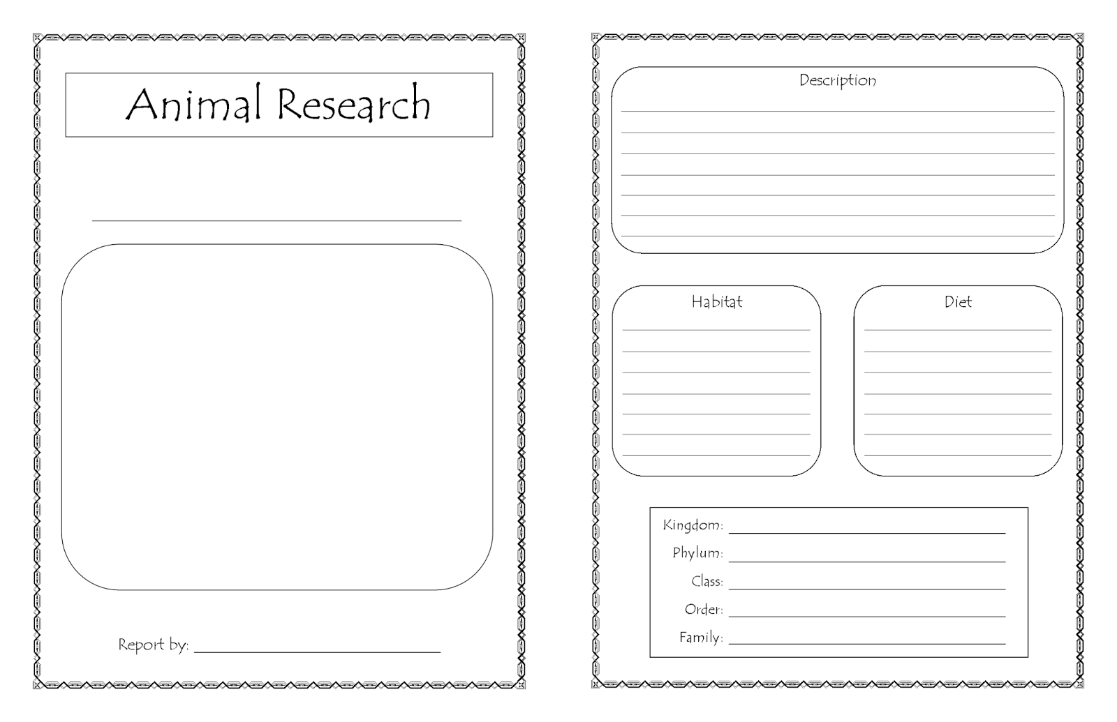 Homeschool Days New Printable Animal Research Report