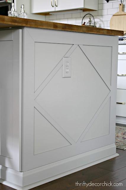 DIY diamond design on kitchen island