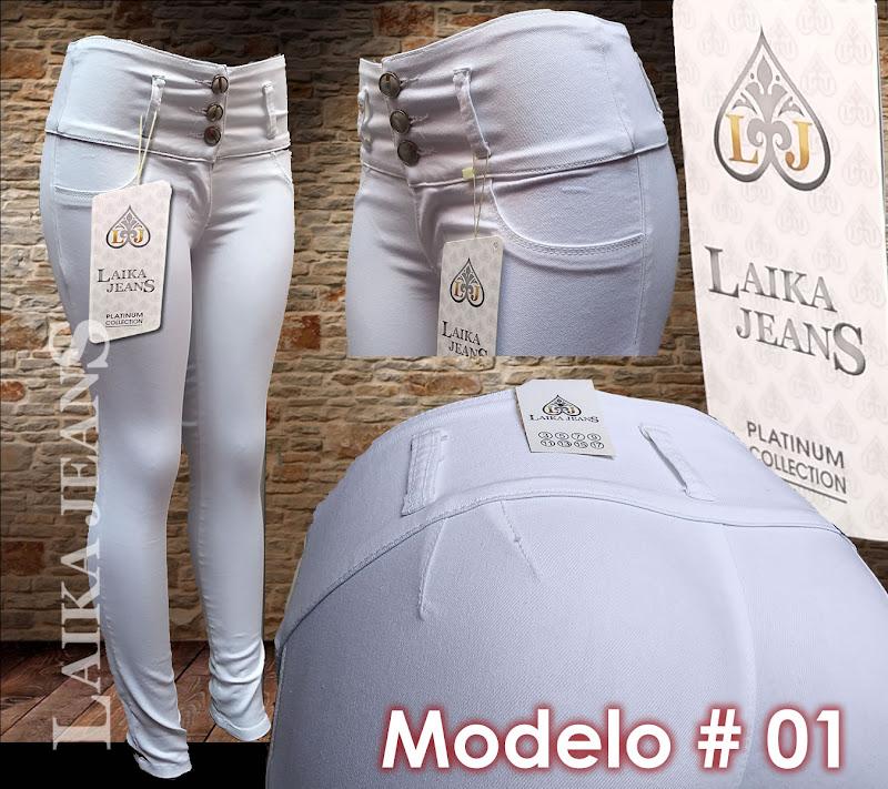 Laika Jeans color Blanco mezclilla Stretch pretina alta a la cintura compra mayoreo y menudeo 2020 2021