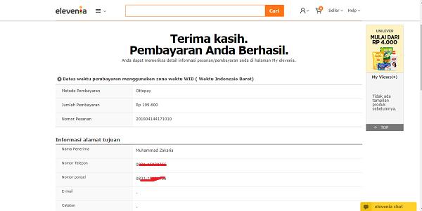Bukti Pembayaran Trx dari Situs Elevenia dengan Aplikasi Pede