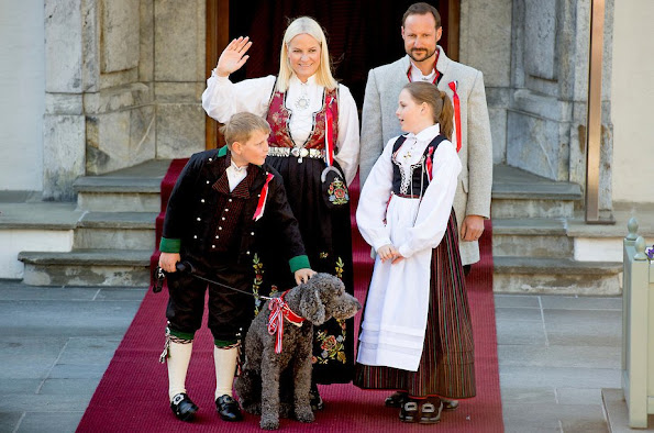 Crown Prince Haakon and Crown Princess Mette-Marit of Norway, Prince Sverre Magnus, Princess Ingrid Alexandra of Norway celebrate Norway National Day