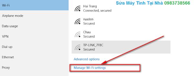 Bấm chuột vào Manage Wi-Fi settings