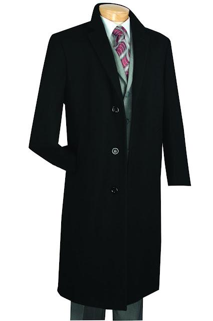 "Winter Fall Essentials Men's Dress Top Coat 48"" Long in Black - 54 Long / Black"