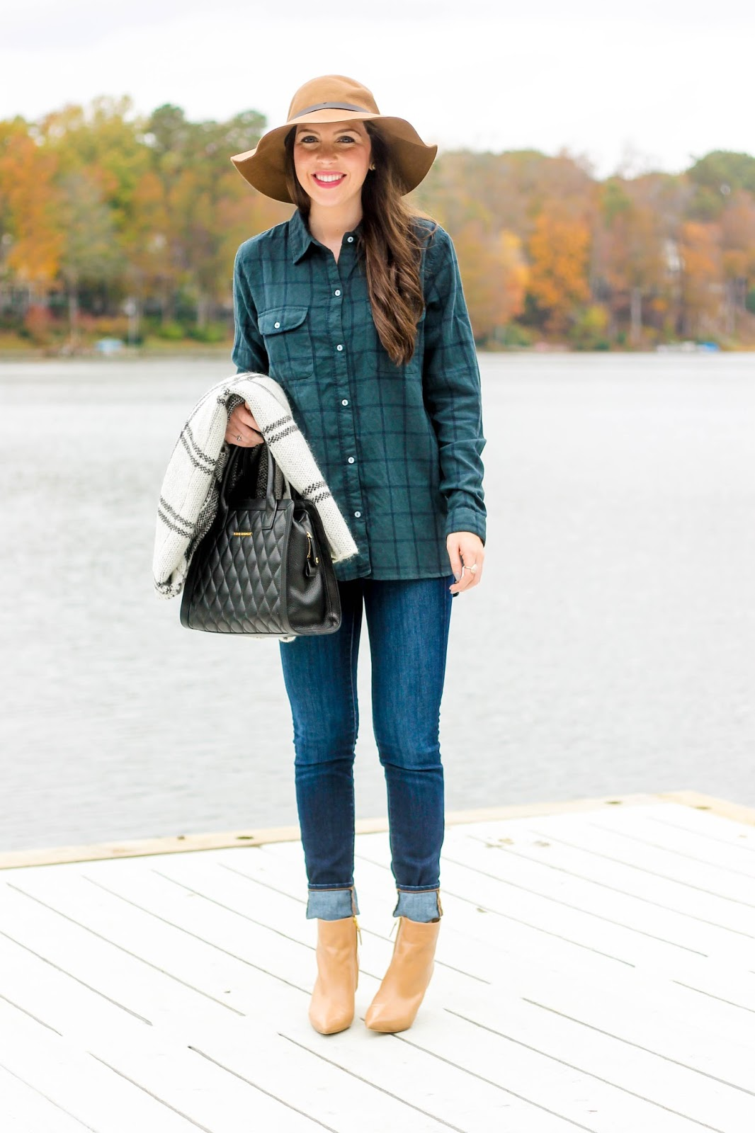 Plaid Shirt, Plaid Cape, Floppy Camel Hat, Fall Fashion, Fall Trends, Vera Bradley Quilted Natalie Satchel, Perfect Black Bag, Fall outfit, camel pointy toe booties, sam edelman booties, fall fashion, pretty in the pines, fashion blog, fashion blogger, lyon and post, sundry flannel, flannel shirts for women, thanksgiving outfit for women, cute thanksgiving outfit