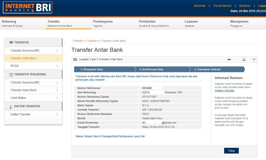 Cara Transfer Uang Melalui Internet Banking Bri Ke Bca Bni Mandiri Bii Maybank Bank Lain Aditya Web Com