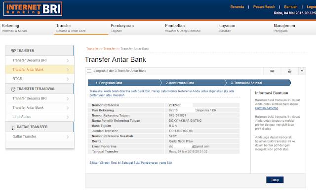 Cara Transfer Uang Melalui Internet Banking BRI ke BCA, BNI, Mandiri (Bank Lain), Transaksi berhasil i-banking BRI