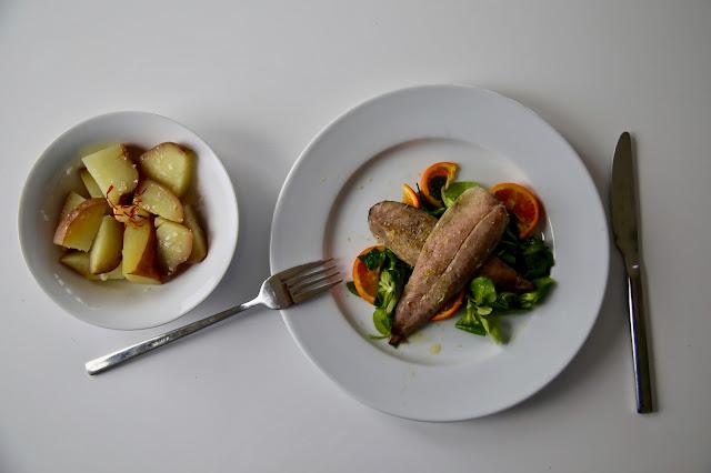 Bergamot cured mackerel, pickled mandarin salad, saffron potatoes