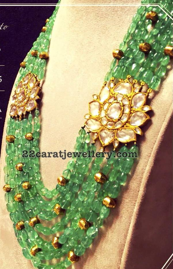 Emerald Beads Multi Layers Set with Polki Flowers