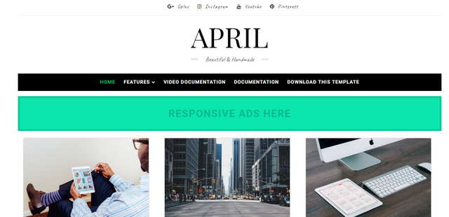 April Grid Responsive Blogger Templates