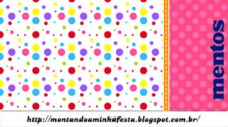 Etiquetas de Mentos de  Puntos de Colores para Niña para imprimir gratis