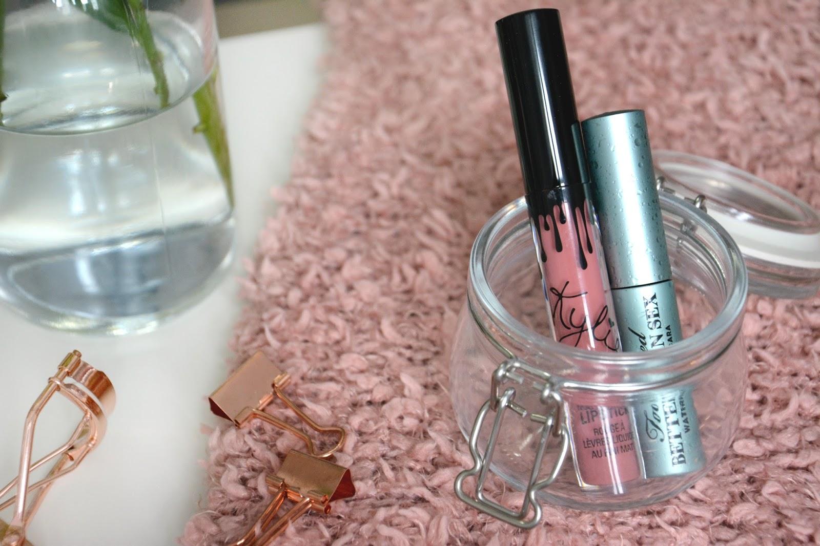 Kylie Cosmetics Matte Liquid Lipstick Candy K; Too Faced Better Than Sex Waterproof Mascara; Primark Rose Gold Eyelash Curler