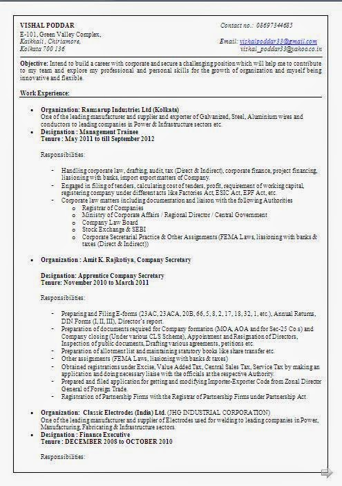 Management Trainee Resume Format