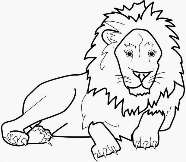 Download mewarnai gambar Hewan buas singa