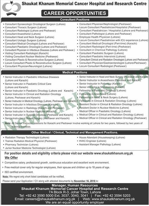 New Jobs announced in Shaukat Khanum Memorial Cancer Hospital