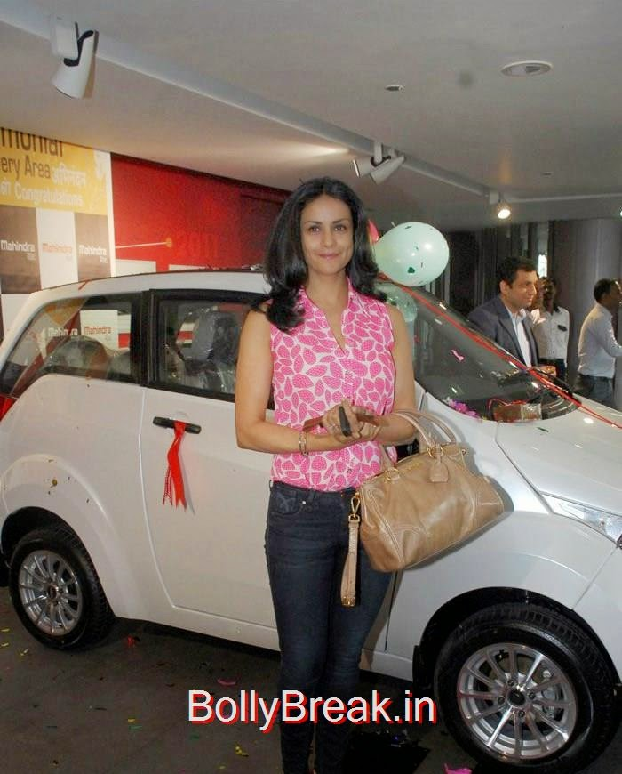 Gul Panag, Gul Panag Hot Pics in Pink Top With New Reva E2O car