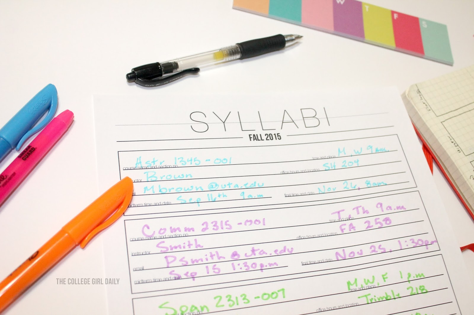 Printable Syllabi Sheet