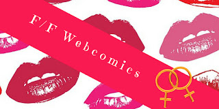 F/F Webcomics title image with lips/lipstick background and interlocked feminine symbols