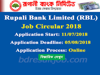 Rupali Bank Limited (RBL) Officer (Cash) Job Circular 2018