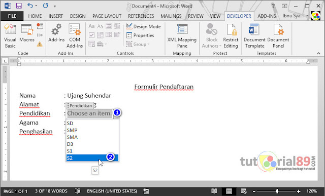 Cara membuat menu dropDown list di Microsoft word + Video