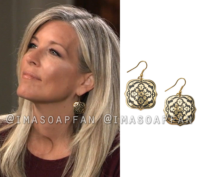 Carly Corinthos, Laura Wright, Engraved Brass Drop Earrings, General Hospital, GH