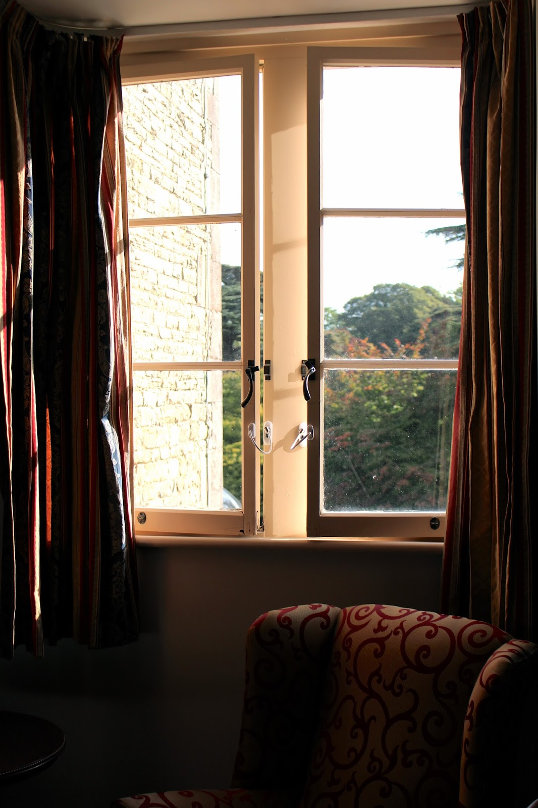 Hotel room morning sunshine at Tortworth Court