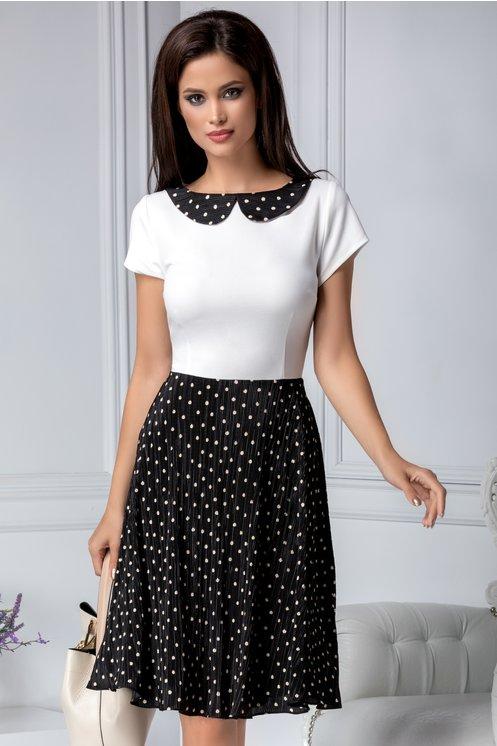 Rochie alb si negru eleganta de zicu imprimeu cu buline albe discrete