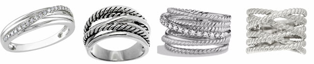 "One of these crossover rings is from David Yurman for $825 and the other three are under $75. Can you guess which ring is the ""real thing""?"