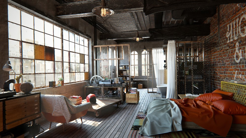 japanese-windows-leather-bedding-eclectic-industrial-bedroom