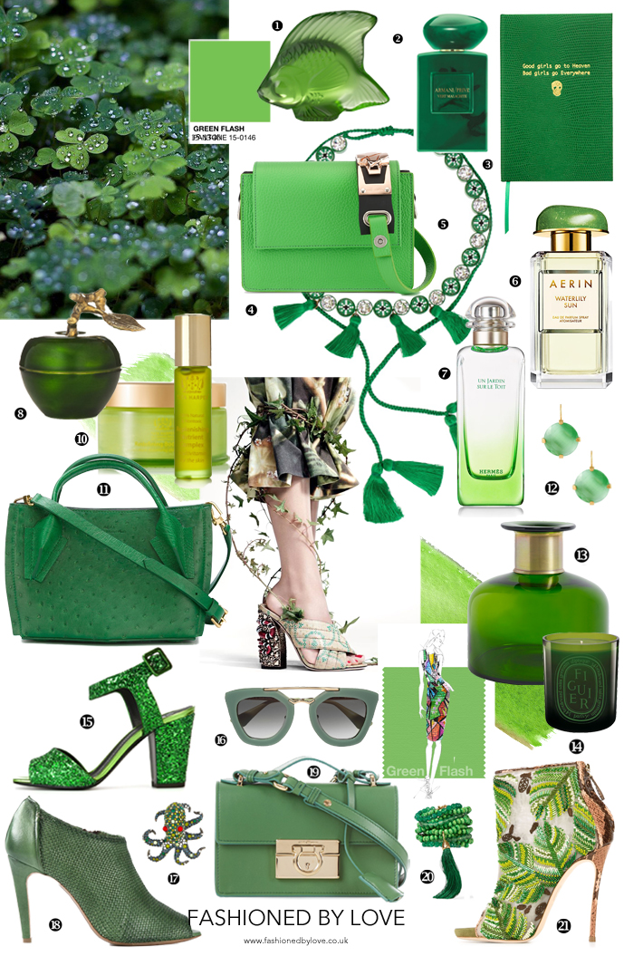 Pantone's Green Flash colour trend report and shopping including green accessories, handbags, shoes, earrings, necklaces, candles, vases, sunglasses, perfumes & more via www.fashionedbylove.co.uk