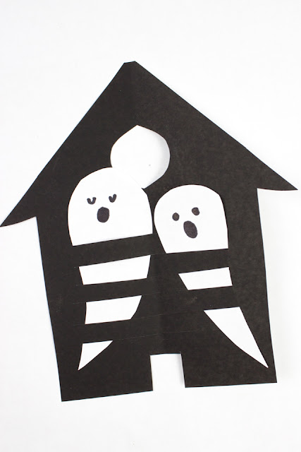 Haunted House and Ghost Paper Weaving- Super easy and fun kids craft for Halloween