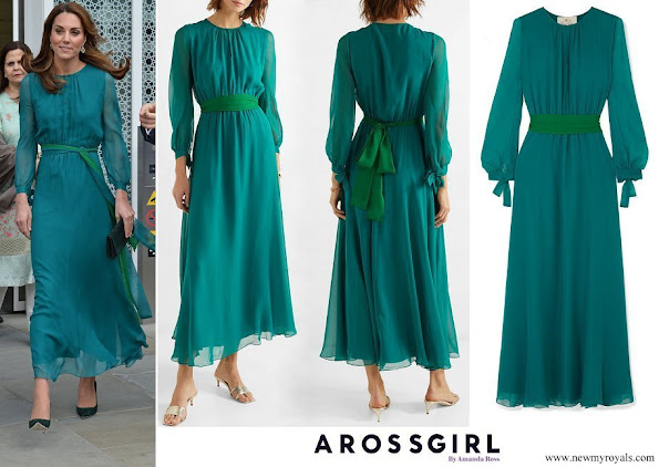 Kate Middleton wore AROSS GIRL X SOLER Amanda silk georgette maxi dress