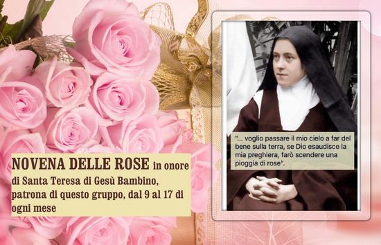 NOVENA DELLE ROSE in onore di Santa Teresa di Gesù Bambino, patrona di questo gruppo, dal 9 al