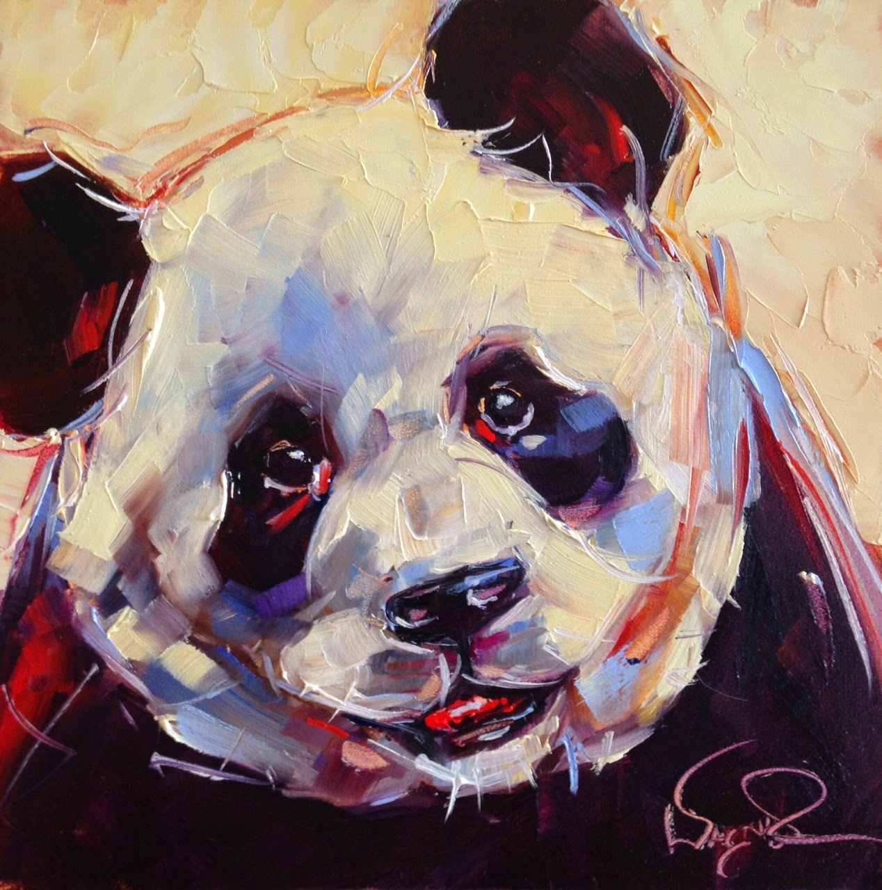 olga paints loving color day 6 original contemporary panda bear