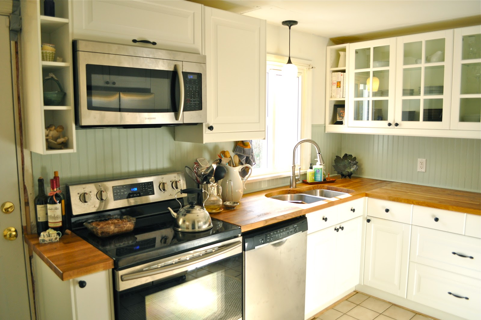It's Marvelous: a few kitchen follow-ups: butcher-block counters, $50 backsplash and (not) diy ...