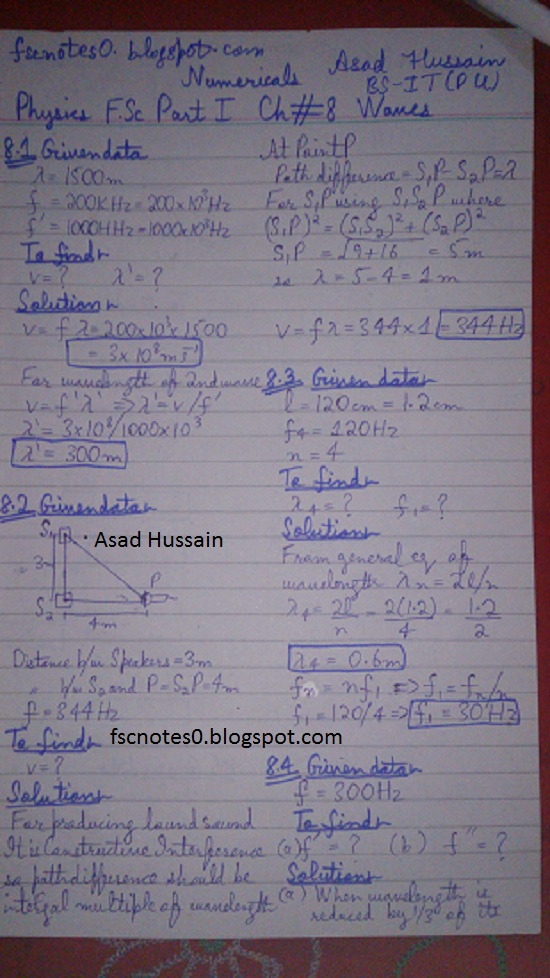 F.Sc ICS Notes: Physics XI: Chapter 8 Waves Numerical Problems Asad Hussain