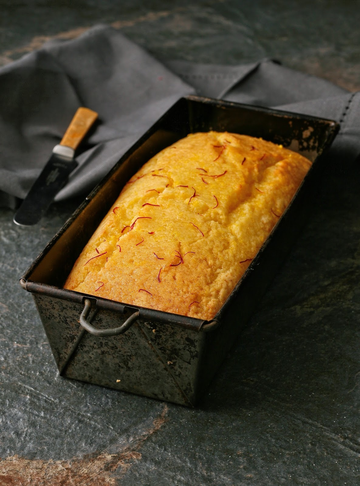 Lemon loaf cake with saffron syrup.