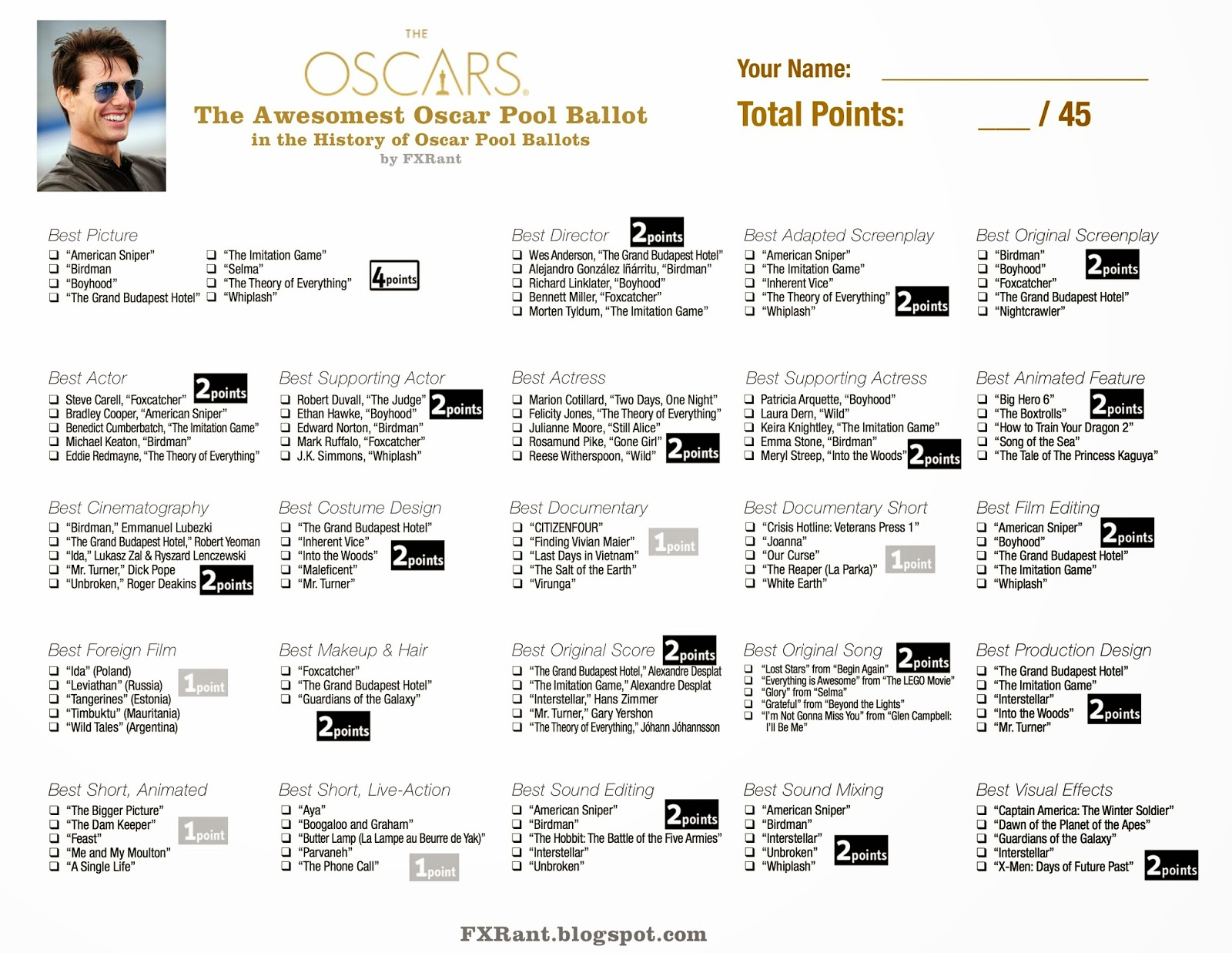 Oscar Nominations 2017 Full List further Screen Actors Guild Awards Printable Ballot together with Emmy Award Ballot Print At Home Andy Samberg 13579086 together with 2013 Oscar Winners And Nominees  plete List besides Your Oscar Party Essentials Ballot. on oscar nominations 2017 printable